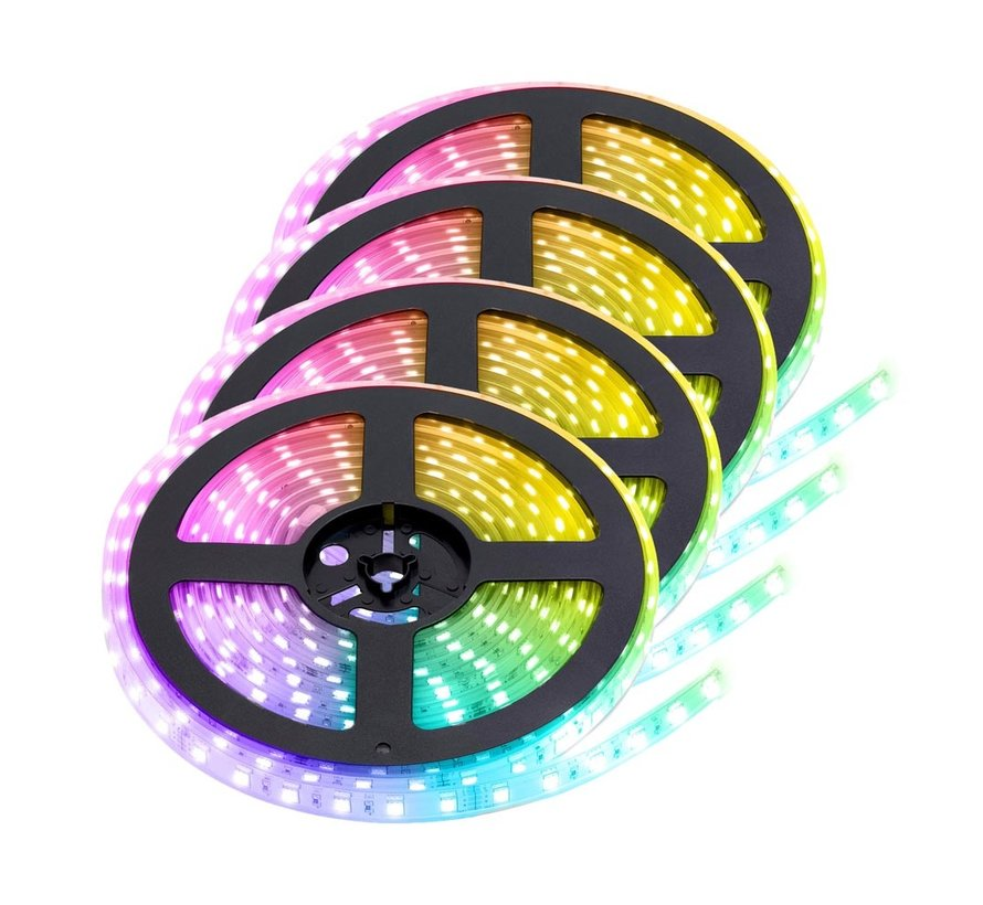RGB LED Strip   IP68 (waterdicht)   20 Meter (4x 5 meter)   12V - 24V    Alle kleuren instelbaar