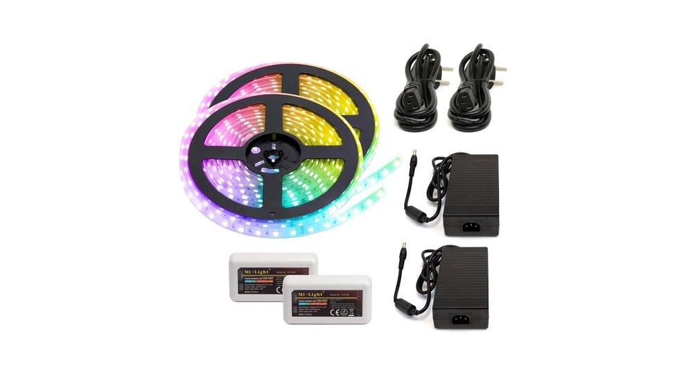 RGB+CCT LED Strip    IP20 (voor binnen)   10 Meter (2x 5 meter)   12V - 24V   Alle kleuren + wit