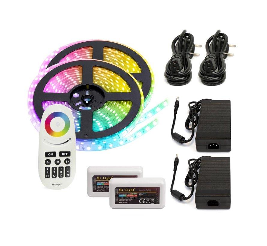 RGB+CCT LED Strip  | IP20 (voor binnen) | 10 Meter (2x 5 meter) | 12V - 24V | Alle kleuren + wit
