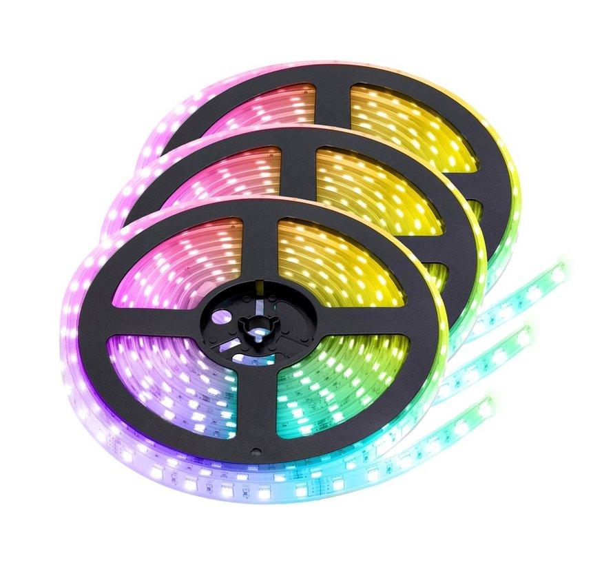 RGB+CCT LED Strip  | IP68 (waterdicht) | 15 Meter (3x 5 meter) | 12V - 24V | Alle kleuren + wit