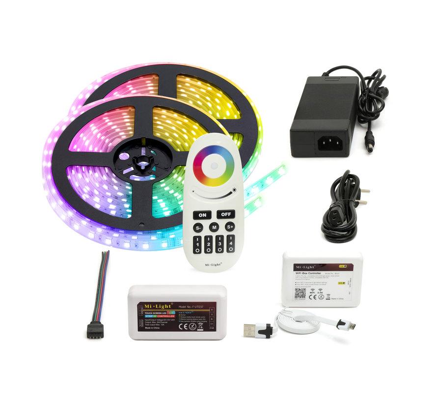 RGB LED Strip | IP20 (voor binnen) | 10 Meter (2x 5 meter) | 12V - 24V | Alle kleuren instelbaar