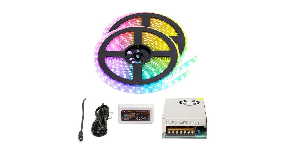 RGBW LED Strip  | IP20 (voor binnen) | 10 Meter (2x 5 meter) | 12V - 24V | Alle kleuren + Warm wit