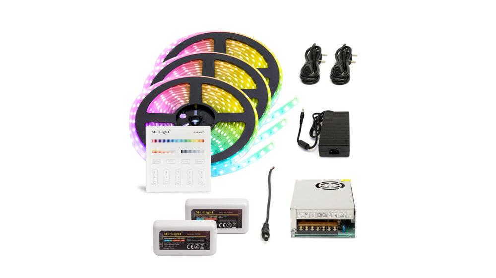 RGB+CCT LED Strip  | IP20 (voor binnen) | 15 Meter (3x 5 meter) | 12V - 24V | Alle kleuren + wit