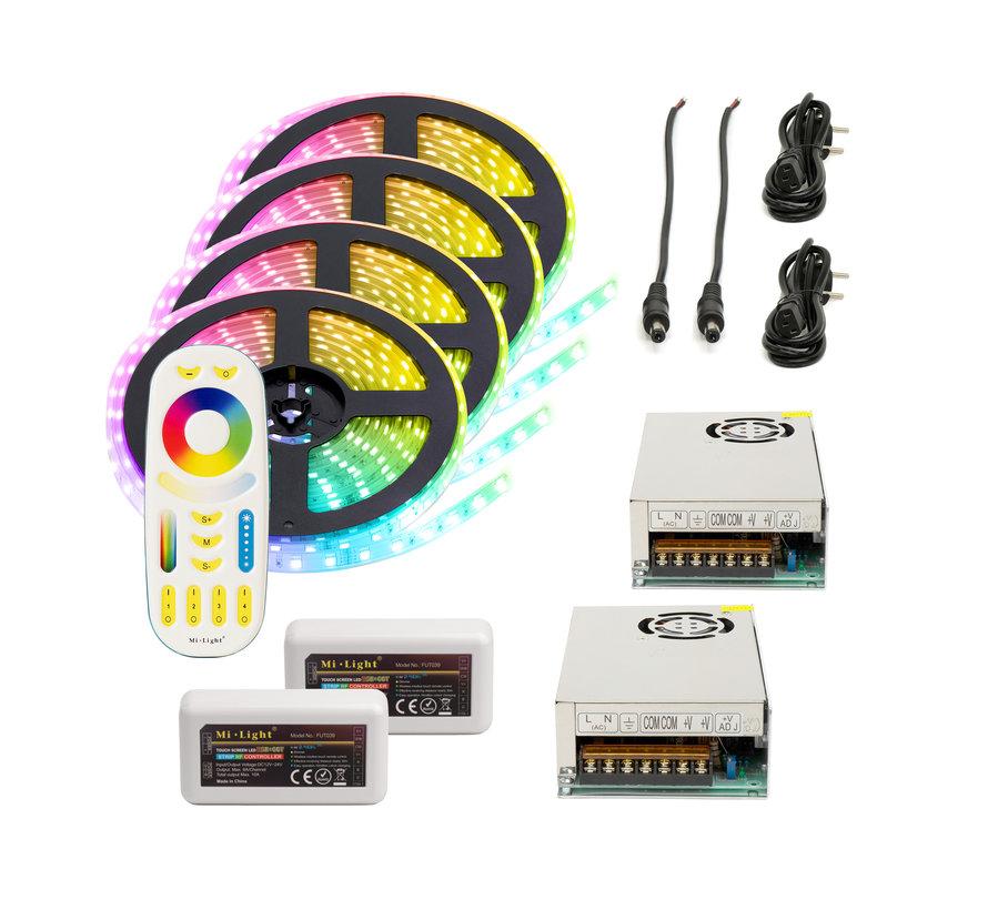 RGB+CCT LED Strip  | IP20 (voor binnen) | 20 Meter (4x 5 meter) | 12V - 24V | Alle kleuren + wit