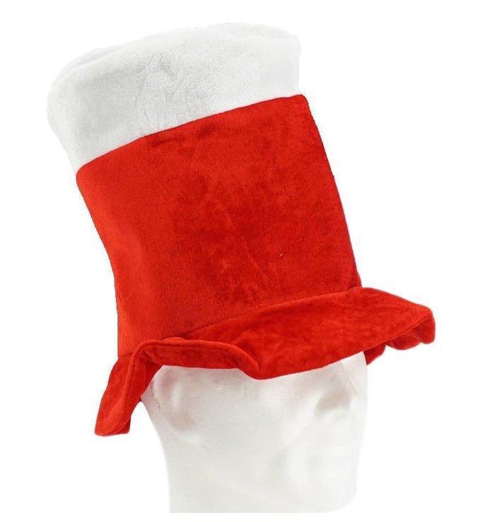 Hoge hoed rood-wit
