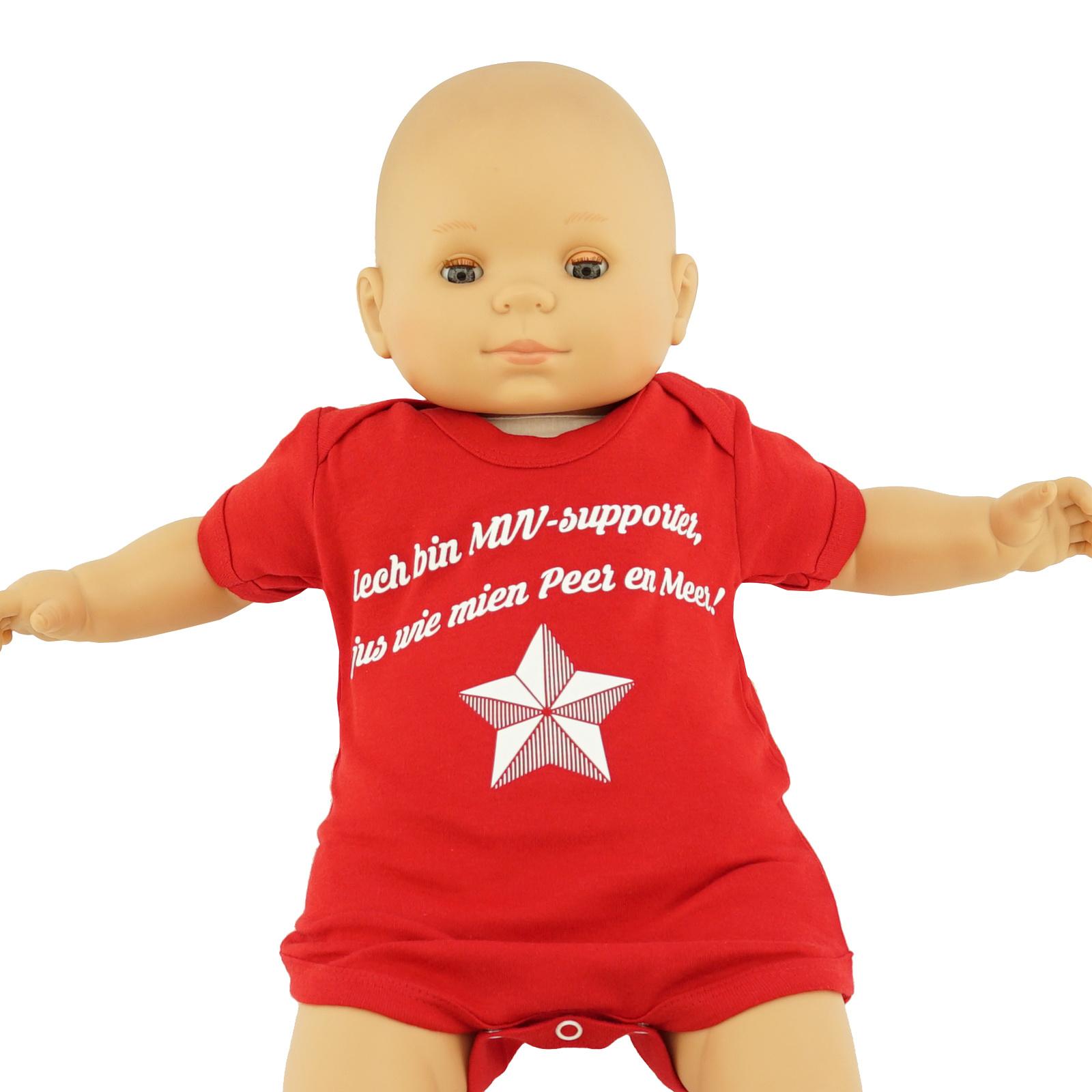 Baby body - rood - Iech bin MVV-supporter, sjus wie mien Peer en Meer!