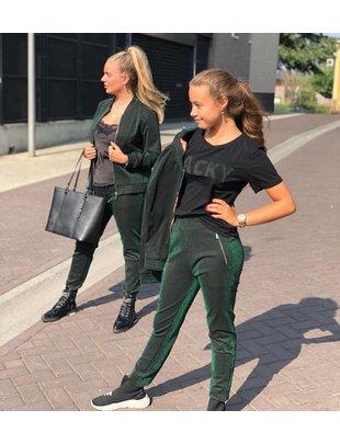 Jacky luxury Jacky luxury broek glitter groen