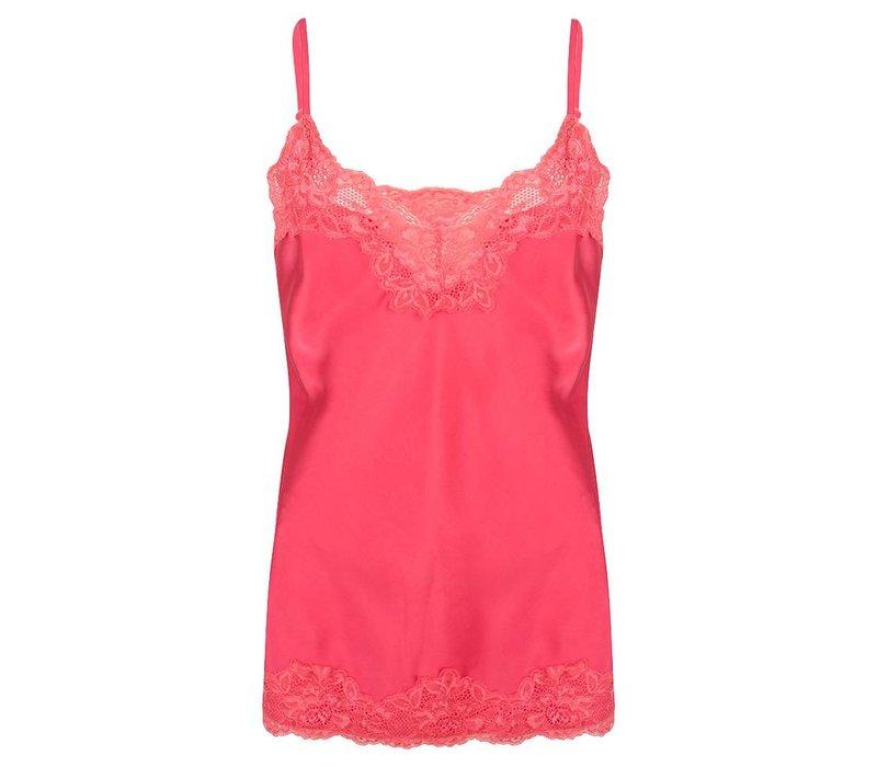 Jacky luxury top basic satin lace hot pink