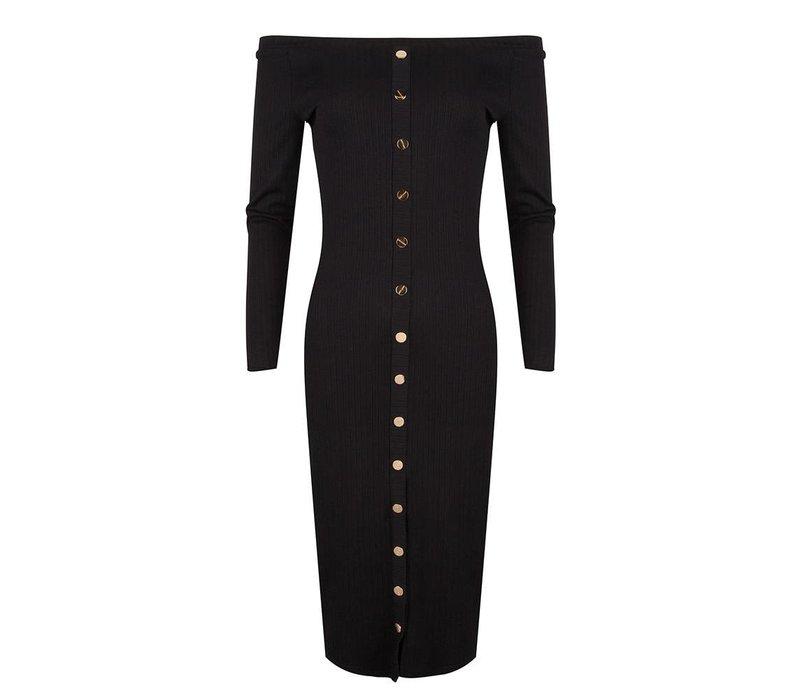 Jacky luxury dress rib button details