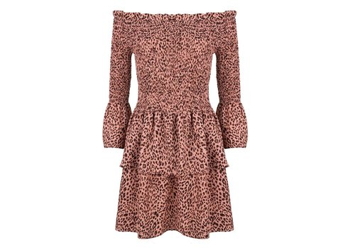 Jacky luxury Jacky Luxury dress off shoulder leopard pink