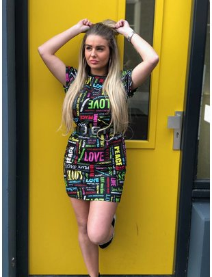 Love Moschino Love Moschino dress all over lettering black