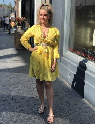 ac1029a4b9aef1 Chic Trash Chic Trash jurk Ibiza geel goud kort