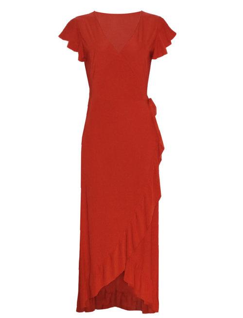 Chic Trash BASIC RUFFLE DRESS RED
