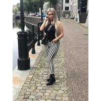 CHIC TRASH BROEK GESTREEPT ZWART/WIT