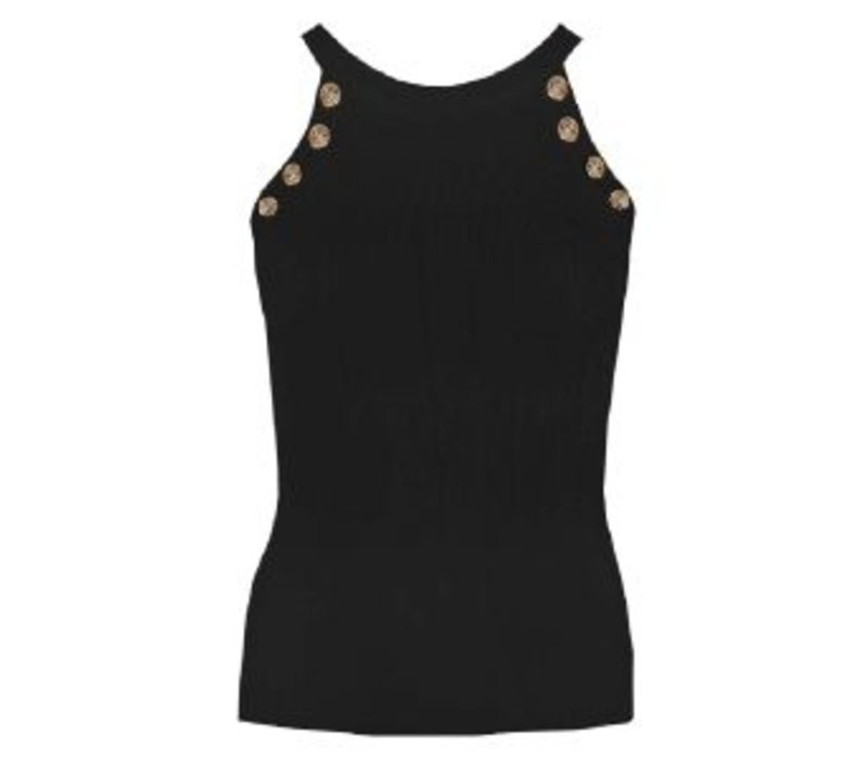 CHIC TRASH TOP GOLDEN BUTTONS BLACK