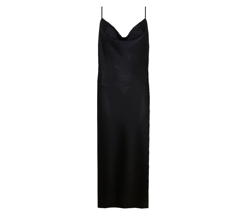CHIC TRASH WATERFALL DRESS BLACK SATIN