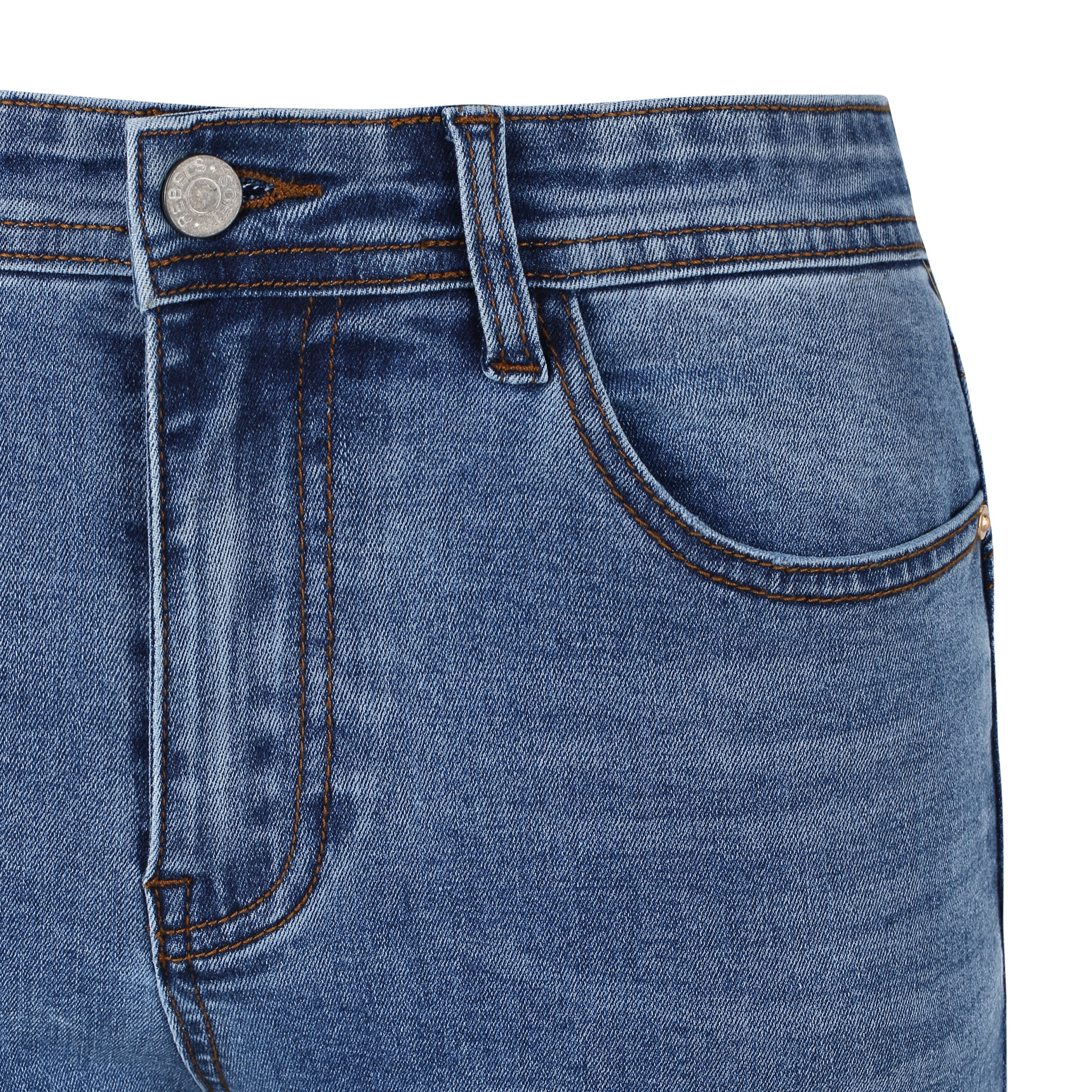 Soft Rebels Mid Rise Slim Jeans - Medium Blue Wash - 806