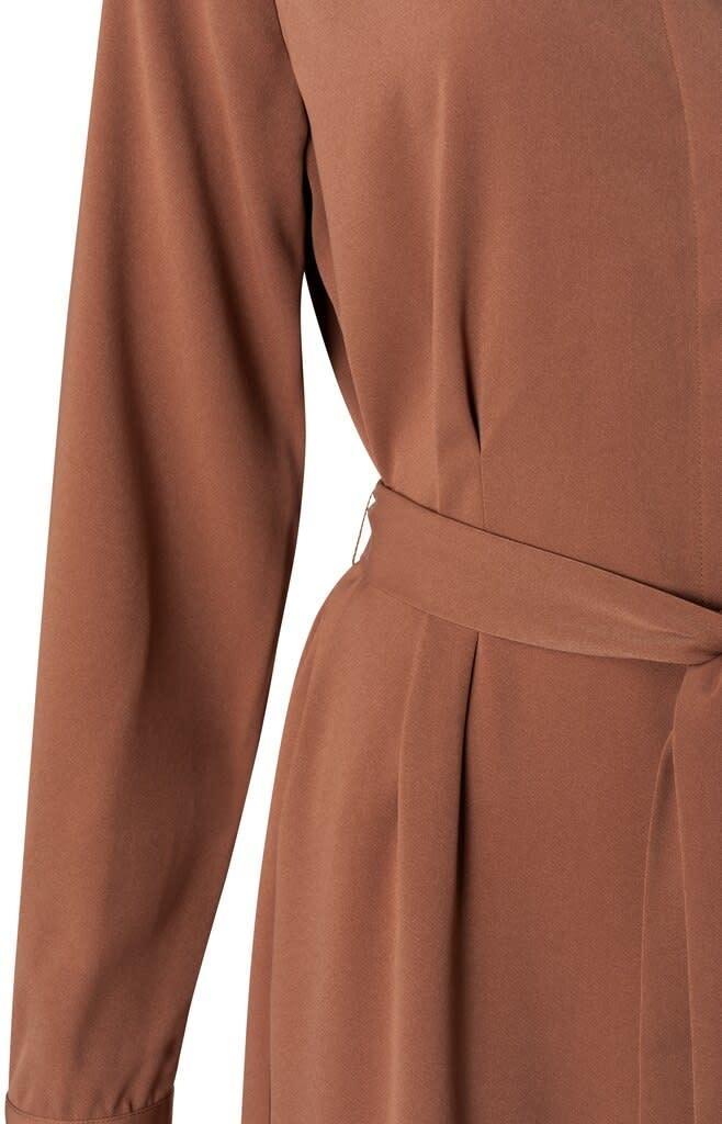 YAYA Women Belted Button Up Midi Dress - Roest