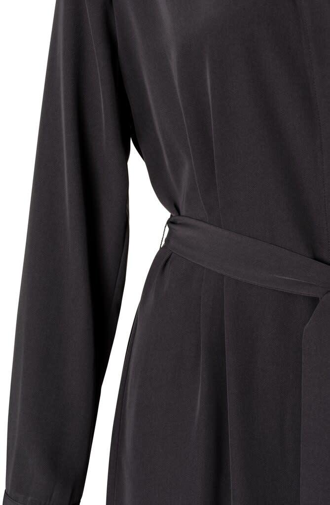 YAYA Women Belted Button Up Midi Dress - Zwart