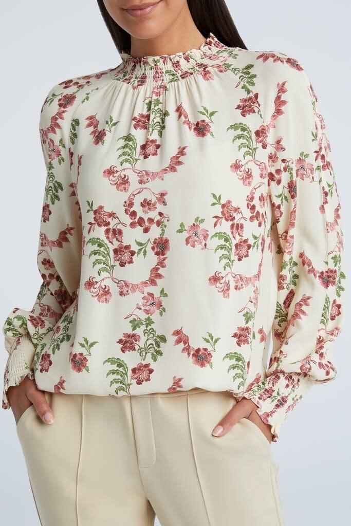YAYA Women Printed Smocked Top