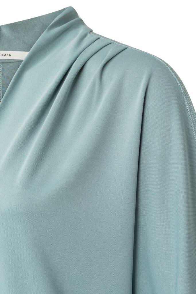 YAYA Women Pleated V-neck top