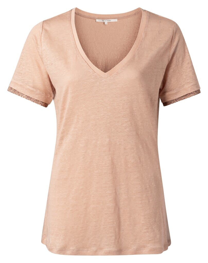 YAYA Women V-neck tee with woven cuffs