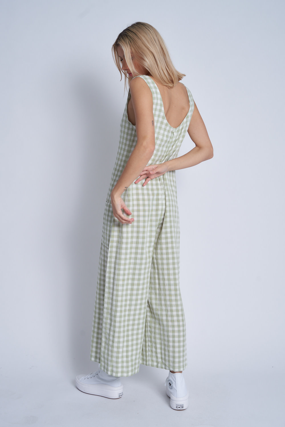Native Youth Textured gingham slouchy jumpsuit