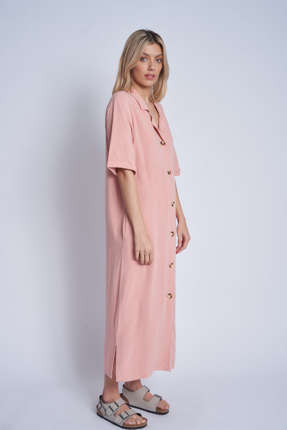 Native Youth Loose fit button down maxi dress