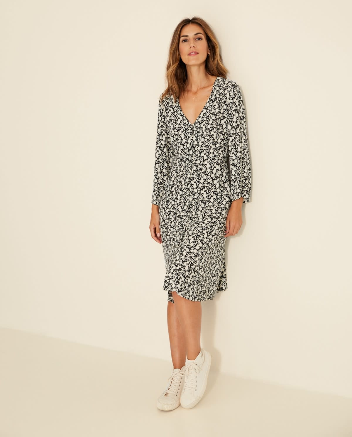 Yerse Long-sleeve floral dress