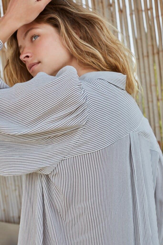 YAYA Women Printed button up blouse in stripe