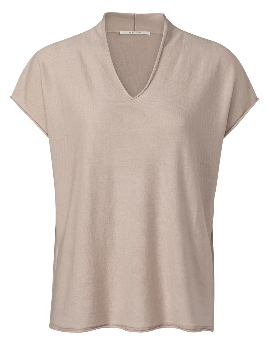YAYA Women V-neck sweater with cap sleeves and roll edges