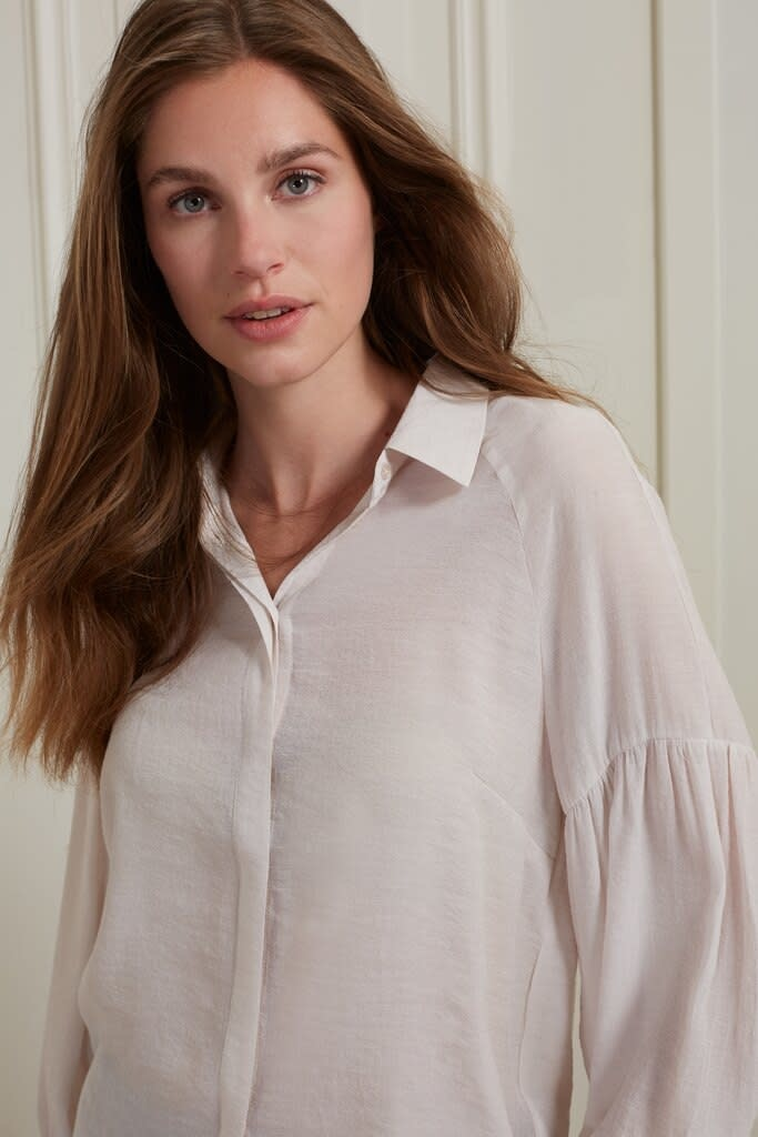 YAYA Women Long sleeve button up blouse with puff sleeve