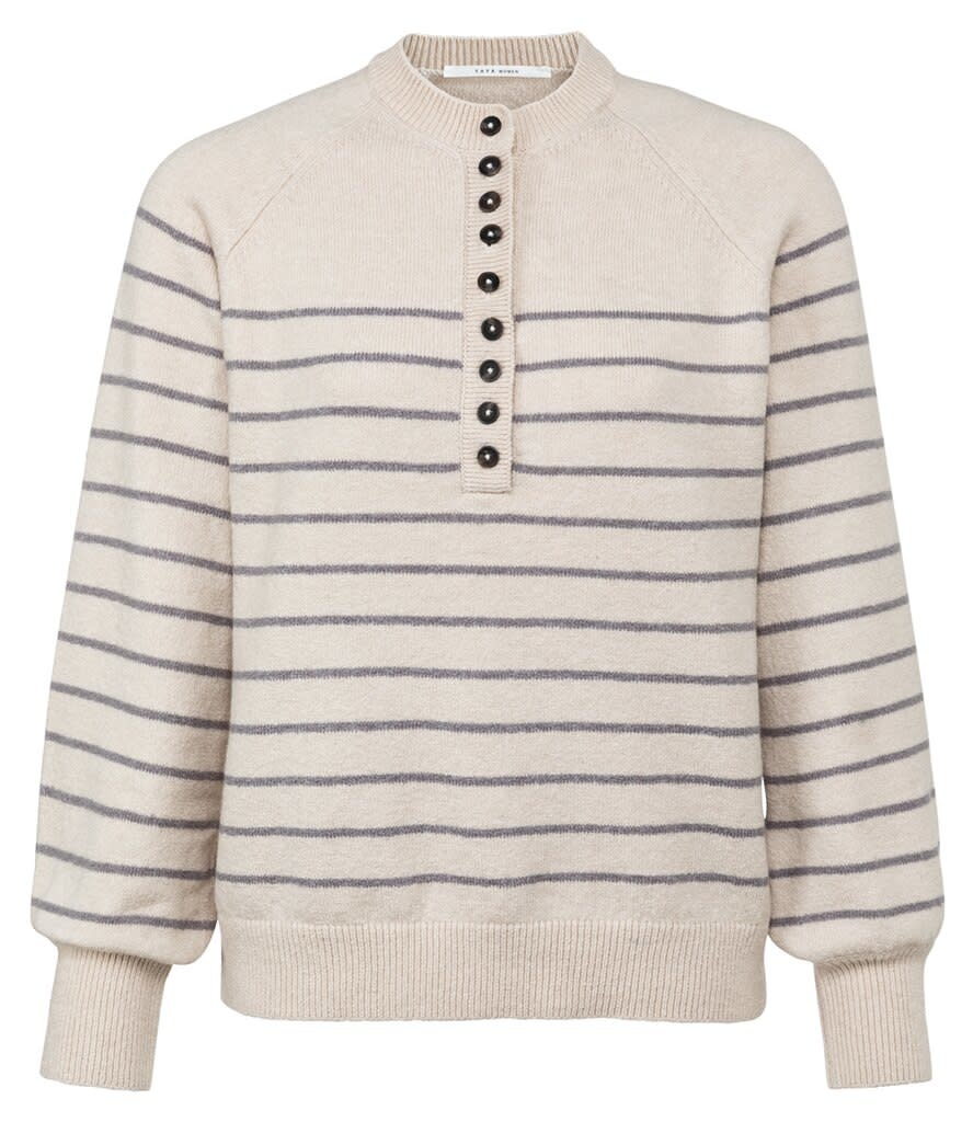 YAYA Women Striped sweater with balloon sleeves and buttons