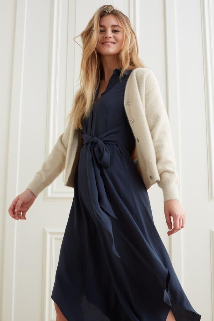 YAYA Women Maxi button up dress with knotted waist detail