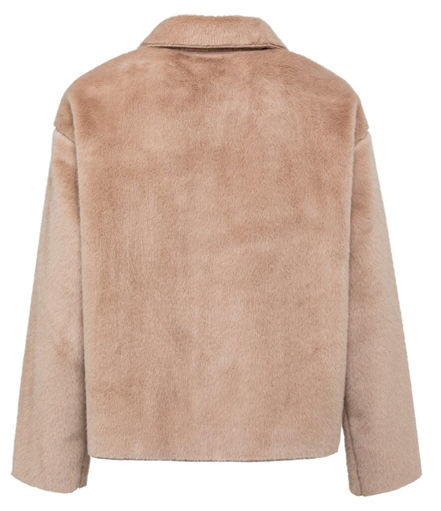 YAYA Women Short fake fur jacket with button closure