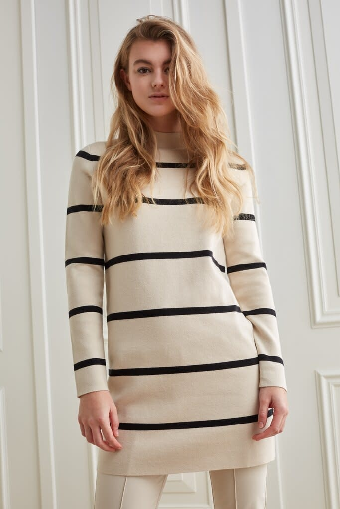 YAYA Women Knitted dress with stripes, high neckline and long sleeves