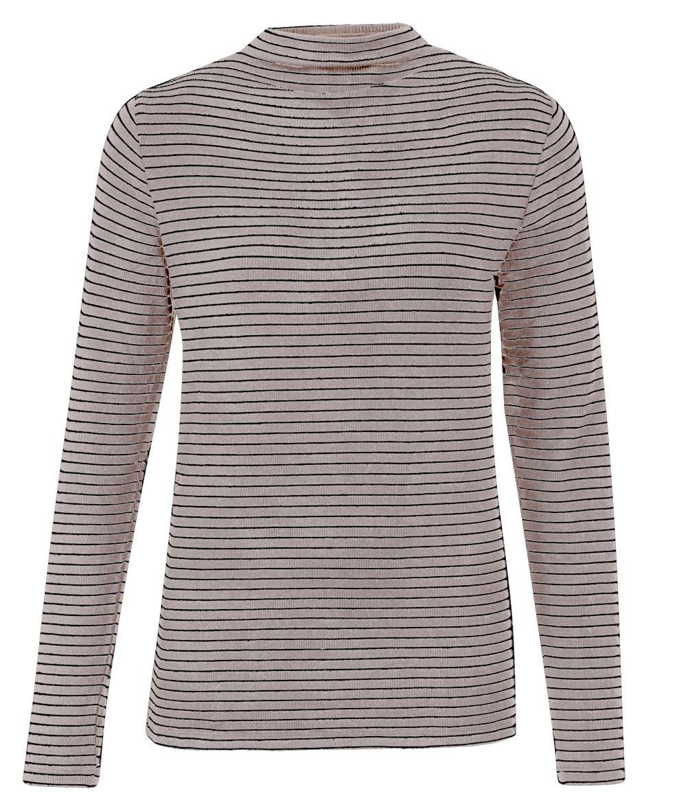 YAYA Women Striped long sleeve roll neck top - ecru
