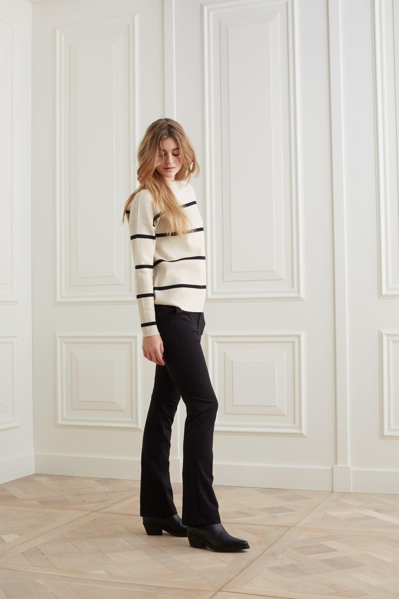 YAYA Women Jersey flare stretch pantalon in a cotton blend fabric