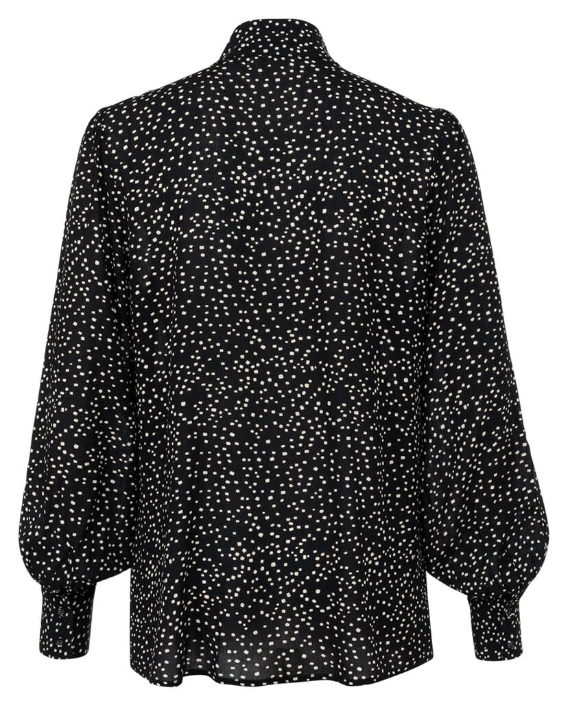 YAYA Women Printed button up blouse with fabric covered buttons