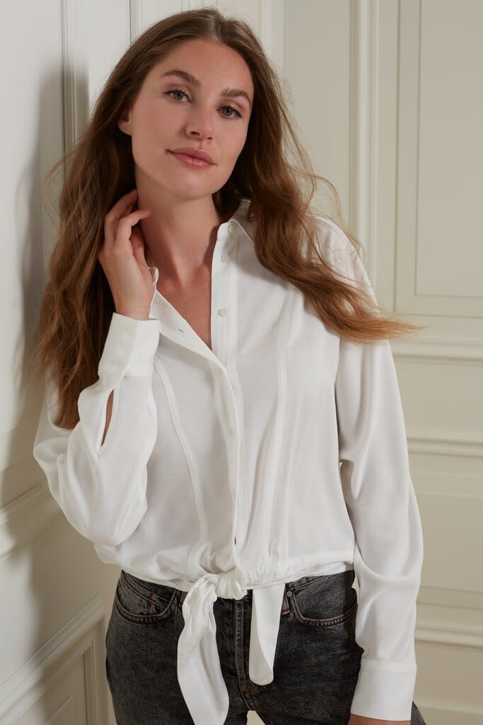 YAYA Women Boxy button up blouse with tie detail at bottom hem