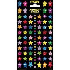 Stammetjes Gekleurde Glitter Sterren - Stickervel