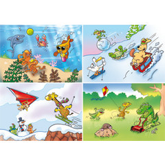 A4 Reuzewenskaarten grappig getekende dieren
