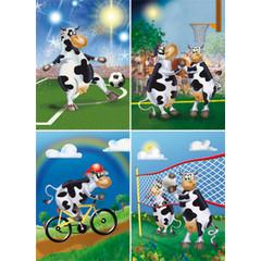 Sportende Koeien - Reuzewenskaart