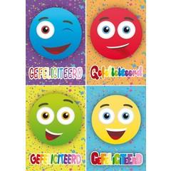 A4 Reuzewenskaarten smileys 'gefeliciteerd'