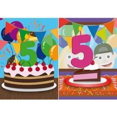 Reuzewenskaart met de felicitaties en het cijfer 5