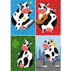 Reuzewenskaart serie 12001 - grappige koeien