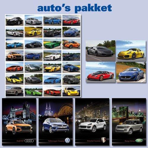 Kaarten- en sticker pakket auto's