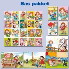 Bas op kaart- en stickers afgebeeld in een pakket