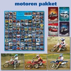 Motoren, auto's afgebeeld op  kaarten- en 92 stickers