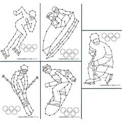 Borduurkaarten wintersporten in beeld